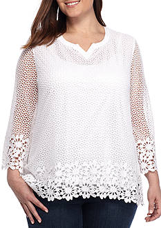 Alfred Dunner Plus Size Crochet Tunic