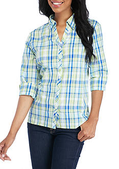 Alfred Dunner Button Front Collared Plaid Shirt