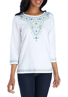 Alfred Dunner Embroidered Yoke Knit Top