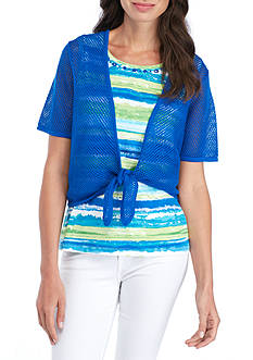 Alfred Dunner Striped Tank Top with Crochet Knit Shell