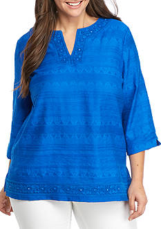 Alfred Dunner Plus Corsica Lace Trim Tunic
