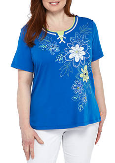 Alfred Dunner Plus Size Floral Embroidered Knit Top