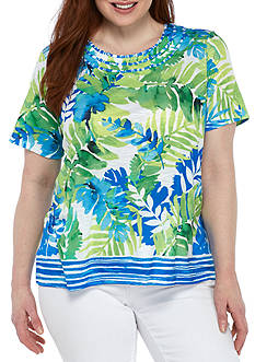 Alfred Dunner Plus Size Tropical Border Tee