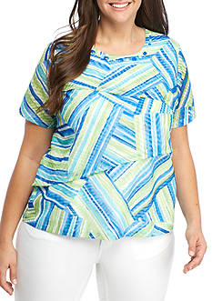Alfred Dunner Plus Corsica Stripe Tiered Blouse