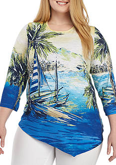 Alfred Dunner Plus Size Scenic Printed Knit Top