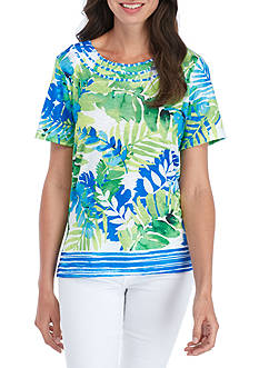 Alfred Dunner Petite Size Tropical Border Knit Top