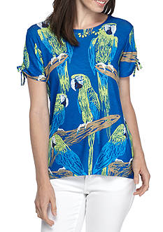 Alfred Dunner Petite Size Parrot Printed Knit Top