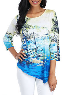 Alfred Dunner Petite Size Scenic Printed Knit Top