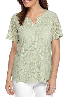 Alfred Dunner Lace Border Knit Top