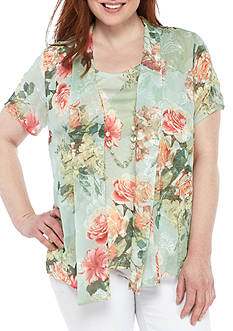 Alfred Dunner Plus Size Flower Shawl and Tank Two-Piece