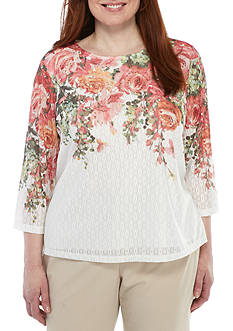 Alfred Dunner Plus Size Floral Mesh Top