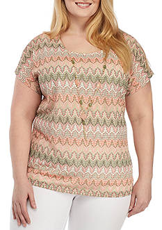 Alfred Dunner Plus Size Knit Top With Removable Necklace
