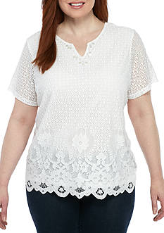 Alfred Dunner Plus Size Lace Border Knit Top