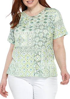 Alfred Dunner Plus Size Printed Short Sleeve Tee