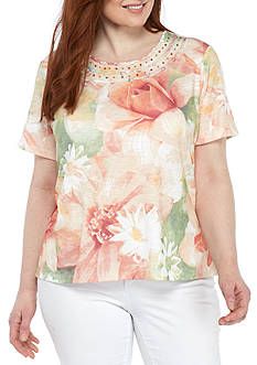 Alfred Dunner Plus Size Floral Knit Top