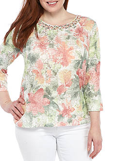 Alfred Dunner Plus Size Cut-Out Floral Knit Top