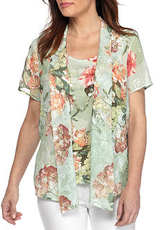 Alfred Dunner Petite Size Bouquet Floral Two for One Woven Top