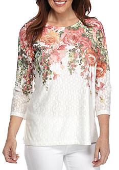 Alfred Dunner Petite Size Floral Yoke Knit Top