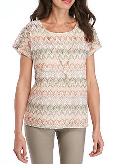 Alfred Dunner Petite Size Zig Zag Lace Top