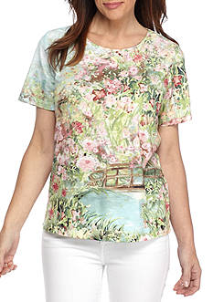 Alfred Dunner Petite Size Garden Scenic Knit Top