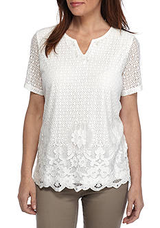 Alfred Dunner Petite Size Lace Border Knit Top