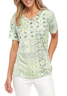 Alfred Dunner Petite Size Printed Lace Yoke Knit Top
