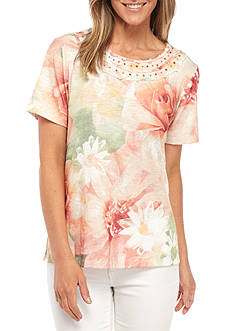Alfred Dunner Petite Size Floral Printed Knit Top