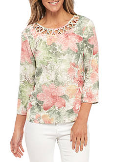 Alfred Dunner Petite Size Ruched Floral Knit Top