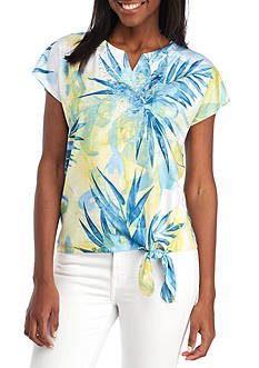 Alfred Dunner Tropical Floral Tie Bottom Tee