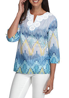 Alfred Dunner Petite Ikat Biadere Woven Top