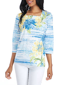 Alfred Dunner Petite Size Texture Floral Stripe Top
