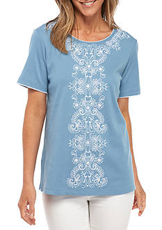 Alfred Dunner Petite Size Center Embroidery Knit Top