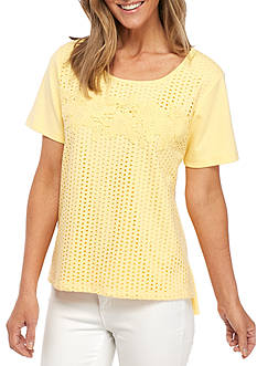 Alfred Dunner Petite Size Eyelet Lace Flower Knit Tee