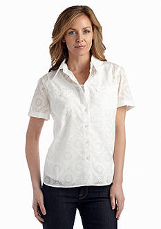 Alfred Dunner Petite Coastal Breeze Collection Medallion Burnout 2Fer