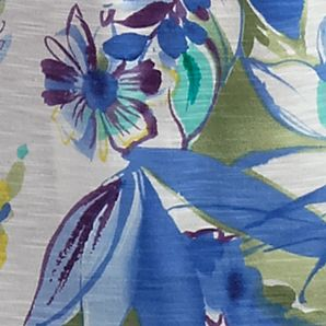 Blue Petite Tops: Marine Blue Alfred Dunner Petite Coastal Breeze Collection Tropical Watercolor Top