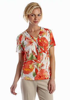 Alfred Dunner Petite Coastal Breeze Collection Tropical Watercolor Top