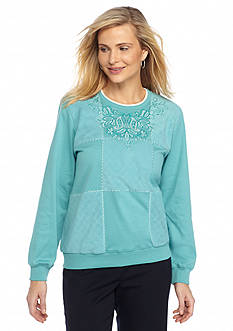 Alfred Dunner Aurora Borealis Spliced Box Knit Top