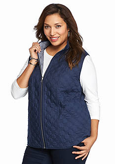 Alfred Dunner Plus Size Sausalito Reversible Striped Vest