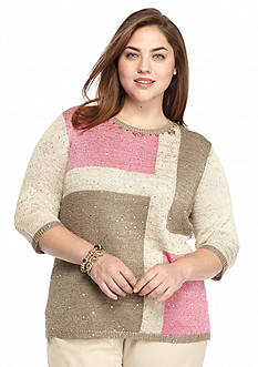 Ruby Rd Plus Size Baton Rouge Sequin Colorblock Sweater