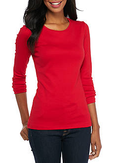 New Directions Weekend Solid Ribbed Scoop Neck Top