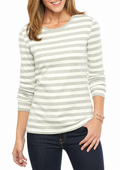 New Directions® Weekend Ribbed Long Sleeve Stripe Tee