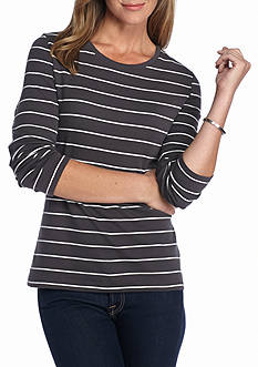 New Directions Weekend Stripe Ribbed Scoop Neck Tee