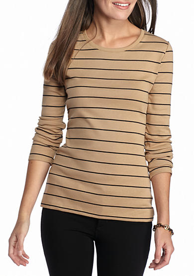 New Directions® Weekend Stripe Ribbed Scoop Neck Tee