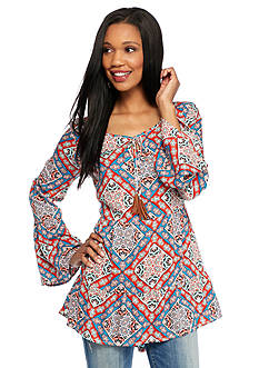 New Directions Weekend Mixed Printed Bell Sleeve High Low Peasant Shirt