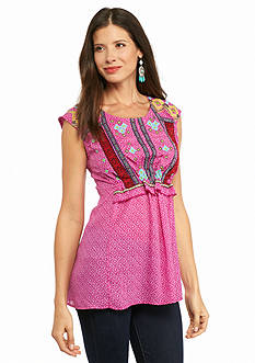 New Directions Weekend Sleeveless Embroidered Tunic