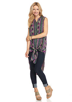 New Directions Weekend Floral Button Front Duster