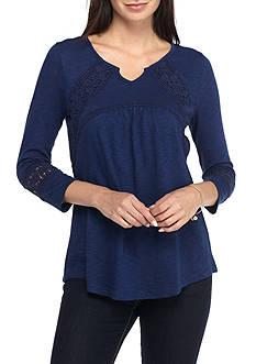 New Directions 3/4 Sleeve Crochet Top