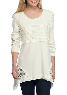 New Directions Weekend Lace Trim Sharkbite Top
