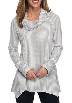 New Directions Weekend Stripe Lace Trim Cowl Neck Top