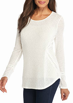 New Directions Weekend Lace Trim Shirttail Top